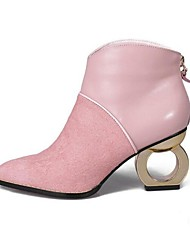 Women's Boots Fall Winter Fashion Boots Suede Outdoor Chunky Heel Zipper Pink Gray Other