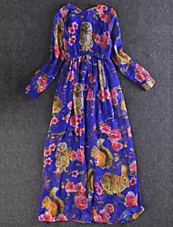 Trapèze Robe Femme Décontracté / Quotidien Chinoiserie,Imprimé Col Arrondi Maxi Manches Longues Bleu / Rouge Polyester AutomneTaille