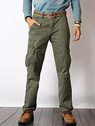 Men's Solid Casual JeansCotton Black / Green WJL-5075