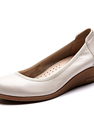 Women's Loafers & Slip-On Spring / Fall Wedges / Round Toe Cowhide Office & Career / Casual Wedge Heel shoes