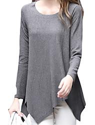 Damen Solide Einfach Lässig/Alltäglich T-shirt,Rundhalsausschnitt Herbst Langarm Blau / Rot / Beige / Schwarz / Grau LeinenUndurchsichtig