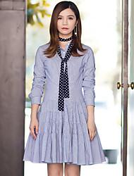 Feminino Camisa Vestido,Casual Simples Listrado Colarinho de Camisa Acima do Joelho Manga Longa Azul Algodão / Náilon / ElastanoPrimavera