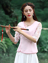 Our Story Going out Vintage Summer T-shirtEmbroidered Round Neck  Length Sleeve Pink Polyester Medium