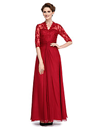 LAN TING BRIDE A-line Mother of the Bride Dress - See Through Ankle-length Half Sleeve Chiffon Lace with Lace Criss Cross