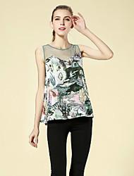 Tee-shirt Aux femmes,Mosaïque Décontracté / Quotidien Chinoiserie Eté Sans Manches Col Arrondi Vert Polyester Moyen