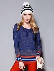/ Diaria simple pulloverpatchwork redondo regular azul ocasional de las mujeres Sybel