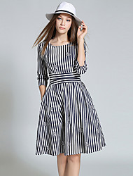 Women's Going out Vintage / Simple Sheath DressStriped Round Neck Knee-length  Sleeve Red / Black Polyester