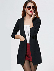 Women's Casual/Daily Simple Fall Jackets,Solid Hooded Long Sleeve Blue / Red / Black / Gray Cotton / Bamboo Fiber Medium