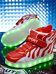 Girl's Sneakers Spring Fall Light Up Shoes Comfort Microfibre Casual Flat Heel Lace-up LED Blue Green Red Walking