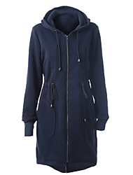 Women's Casual/Daily / Street chic / Active Fall / Winter Jackets,Solid Hooded Long Sleeve Blue Nylon Thick BN0671