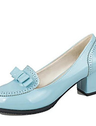 Damen-High Heels-Kleid-Kunstleder-Blockabsatz-Absätze-Schwarz / Blau / Rosa