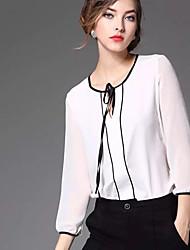 las mujeres Joj va a salir blusa linda primavera, cuello redondo sólido de manga larga ropa blanca opaca
