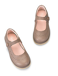 Girls' Flats Leather Spring Summer Fall Casual Magic Tape Flat Heel Beige coffee Flat