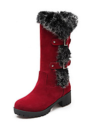 Women's Round Closed Toe Kitten Heels Frosted Solid Pull On Boots