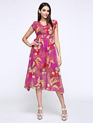 Damen Chiffon Kleid-Lässig/Alltäglich / Übergröße Boho / Street Schick Blumen V-Ausschnitt Maxi Kurzarm Rot / Grün / Lila Seide Sommer