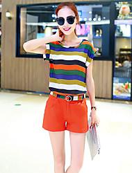 Women's  Simple Summer Set PantStriped Round Neck Short Sleeve Blue / White / Orange / Yellow Polyester Medium