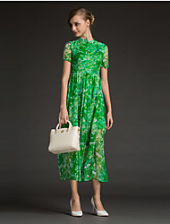 Damen Hülle Kleid-Ausgehen Einfach Druck Rundhalsausschnitt Midi Kurzarm Rot / Grün Polyester Sommer Hohe Hüfthöhe Unelastisch Dünn