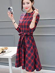 Feminino Rodado Vestido,Happy-Hour / Férias Fofo Xadrez Colarinho Chinês Acima do Joelho Manga Longa Azul / Vermelho PoliésterPrimavera /