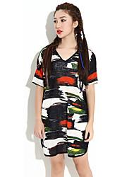HANBELLE® Damen V-Ausschnitt Kurze Ärmel T-Shirt Schwarz-990#