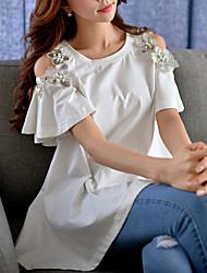 Tee-shirt Aux femmes,Couleur Pleine Sortie Chic de Rue Eté Manches Courtes Col Arrondi Bleu / Rose / Blanc Coton / Spandex Moyen