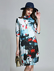 Women's Casual/Daily Vintage Sheath DressPrint Stand Above Knee  Length Sleeve Multi-color Polyester All Seasons