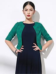 Damen Solide Einfach Ausgehen Blazer,Rundhalsausschnitt Herbst ½ Länge Ärmel Grün Polyester Mittel