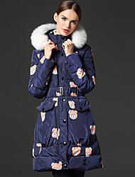 frmz женщин печати вниз синий coatcute с капюшоном с длинным рукавом