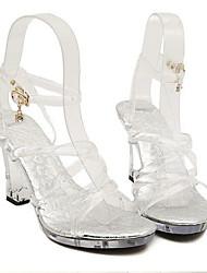 Mujer Sandalias PVC Verano Casual Vestido Plataforma Tacón de cristal Blanco 10 - 12 cms