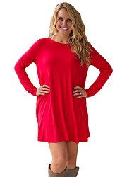 Women's Casual/Daily Street chic Sweater DressSolid Round Neck Above Knee Long Sleeve Red Others Summer Mid Rise