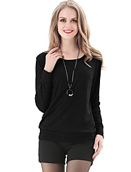 LUTING® Damen Rundhalsausschnitt Lange Ärmel T-Shirt Schwarz / Grau-6038