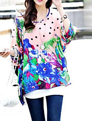 Women's Casual Colorful Print Loose Bohemian Batwing Sleeve Blouse