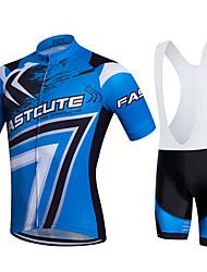 Fastcute Maillot de Ciclismo con Shorts Bib Hombre Mujer Unisex Manga Corta Bicicleta Petos de deporte/Culotte con tirantes