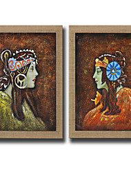 2 Panel Modern Wall Art Pictures Abstract Women Oil Painting Hand-Painted On Linen Home Decoration Painting With Frame