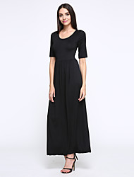 Women's Casual/Daily Vintage Loose Dress,Solid Round Neck Midi ½ Length Sleeve Black Cotton Summer