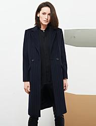c + impressionar trabalho coatstriped sofisticado das mulheres tiveram seu pico de lapela manga longa inverno de lã azul médio / rayon
