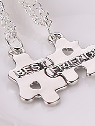 2pcs/set Europe Fashion Best Friends Puzzles Necklaces & Pendants Colar Friendship Pendent Collares Gift For Men Women
