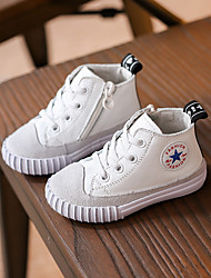 Unisex Sneakers Spring Fall Flats Leather Casual Flat Heel Others Black White Gray Others