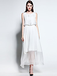 Women's Beach Simple Loose Dress Round Neck Maxi Sleeveless Polyester Summer Mid Rise Micro-elastic Medium