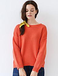 Mujer Regular Pullover Noche / Casual/Diario Simple,Un Color Naranja Escote Redondo Manga Larga Algodón / Acrílico Otoño Medio