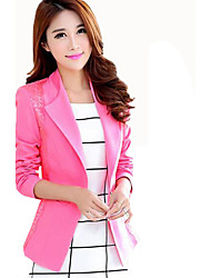 Women's Casual/Daily / Work Simple Spring / Fall Slim Hin Thin Blazer Patchwork Lace Notch Lapel Long Sleeve