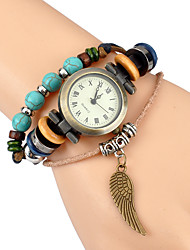 Vintage watch men Multi layer woven Turquoise Leaf Bracelet Watch ladies quartz watch
