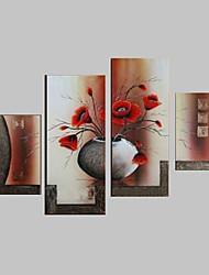 pintados à mão vaso do vintage flores pintura a óleo na lona 4pcs / set sem moldura