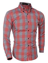 Masculino Camisa Casual / Formal Xadrez Manga Comprida Algodão Vermelho / Cinza