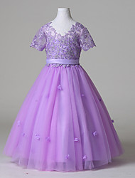 Ball Gown Floor-length Flower Girl Dress - Tulle Short Sleeve V-neck with Lace