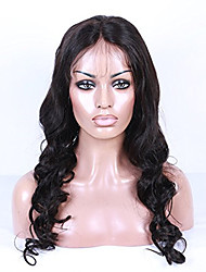 18-26 Inch Natural Black Color Peruvian Virgin Hair Body Wave Full Lace Wig with Baby Hair
