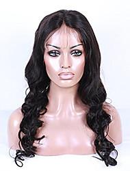 18-26 Zoll natürliche schwarze Farbe peruanisches reines Haarkörperwelle volle Spitzeperücke mit dem Babyhaar