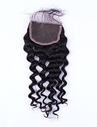 chiusura del merletto onda profonda legata mano 18inch capelli non trattati capelli umani remy 4 * 4swiss pizzo