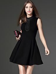 CELINEIA Women's Formal Simple Little Black DressSolid Crew Neck Above Knee Sleeveless Black