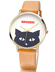 Women's Fashion Quartz Casual Watch Leather Belt Round Alloy Dial Cute Black Animal Face Watch Cool Watch Unique Watch