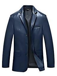 Men's Long Sleeve Casual JacketPU Solid Black / Blue